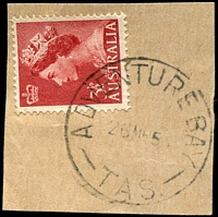 Lot 1825:Adventure Bay: - 'ADVENTURE BAY/26MR5?/TAS.' on 3½d red QEII.  PO 1/12/1890; closed 11/4/1974.