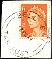Lot 1831:Bell Bay: - 'BELL BAY/12FE71/TAS-AUST' on 6c orange QEII.  PO 18/9/1951; closed 31/12/1973.