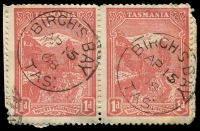 Lot 2245:Birch's Bay (2): - 2 strikes of framed 'BIRCH'S BAY/AP15/08/TAS:' on 1d Pictorial pair.  RH 1/5/1903; PO 1/8/1904; closed 22/6/1954.