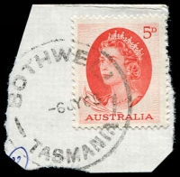 Lot 2246:Bothwell: - 'BOTHWELL/6JY65/TASMANIA' on 5d red QEII. [Rated R]  PO 1/6/1832.