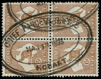 Lot 2278:Hobart: - 52x37mm triple-oval 'CHIEF PARCELS OFFICE/MAR181933/HOBART' (ERD) on 6d brown Roo block of 4, partly o/struck with a second cancel. [Rated 4R]  Renamed from Hobart Town PO 1/1/1881.