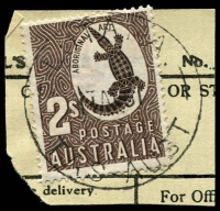 Lot 2295:Lutana: - 'LUTANA/11AP51/TAS-AUST' on 2/- Aboriginal Art on telegraph piece. [Rated 3R]  PO 1/9/1948; closed 30/9/1955.