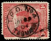 Lot 2349:4: 'T.P.O. NO4./JU??/04/TASMANIA' on 1d Pictorial (faulty).