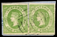Lot 2462:116: 1st Type on 1d green Imperf x2. [Rated 2R]  Allocated to Sandy Creek-PO 13/8/1856; replaced by Tarnagulla PO 2/1/1861.