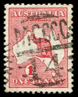 Lot 2560:1414: right half of unframed duplex (recut) on 1d Roo.  Allocated to East Melbourne-PO 1/8/1884.
