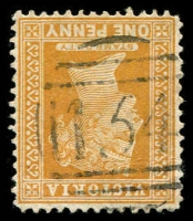 Lot 2479:154: on 1d brown. [Rated R]  Allocated to Corduroy Bridge-PO 5/11/1857; renamed Clarendon PO c.1858; closed 30/11/1976.