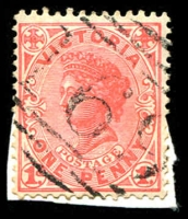 Lot 2486:169: '169' 2nd type on 1d pink. [Rated SS]  Allocated to Crowlands-PO 1/4/1857; closed 29/8/1975.