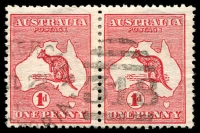 Lot 2512:318: second unframed duplex '[RUT]HERGLEN/JL22/15/[VI]CTORIA - 318' on 1d Roo pair.  Allocated to Rutherglen-PO 1/11/1860; LPO 1/7/1997.