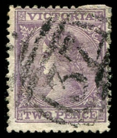 Lot 2417:37: 1st type on 2d lilac Laureate. [Rated 2R]  Allocated to Elephant Bridge-PO 1/3/1848; renamed Darlington PO c.1860; closed 13/1/1994.