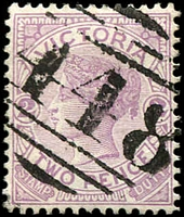 Lot 10712:448: 1st type on 2d violet.  Allocated to Mordialloc-PO 17/10/1863; LPO 14/9/1998; renamed Braeside Business Centre BC 13/6/1995.