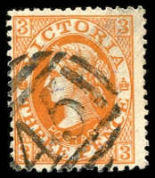 Lot 2422:45: on 3d orange Laureate.  Allocated to Glenorchy-Renamed from Wimmera PO 1/1/1854; LPO 1/9/1994.