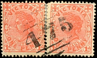 Lot 2524:475: 1st type on 1d pink x2.  Allocated to Edenhope-PO 16/7/1864; LPO 21/10/1994.