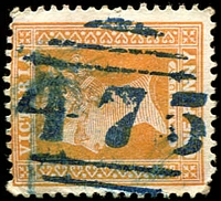 Lot 11836:475: 1st type in blue on 1d brown.  Allocated to Edenhope-PO 16/7/1864; LPO 21/10/1994.