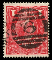 Lot 2406:6: right half of 3rd duplex on 1d red KGV.  Allocated to Belfast-Renamed from Port Fairy PO 1/1/1854; renamed Port Fairy PO 20/7/1887; LPO 19/11/1997.