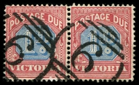Lot 2405:6: 2 strikes (single side-bars) on 1d Blue on Red Postage Due pair. [Rated 2R]  Allocated to Belfast-Renamed from Port Fairy PO 1/1/1854; renamed Port Fairy PO 20/7/1887; LPO 19/11/1997.