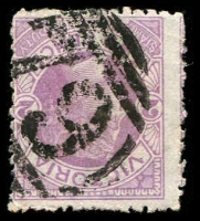 Lot 2444:79: '79' 2nd non-duplex type (very large figures with single side bar at sides) on 2d mauve. [Rated 4R]  Allocated to Streatham-Renamed from Fiery Creek PO 1/1/1854; LPO 1/3/1994.