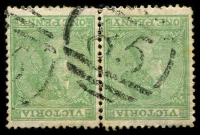 Lot 2448:85: type A2R on 1d green Laureate pair. [Rated R]  Allocated to Woodford-PO 1/1/1854; closed 11/2/1975.