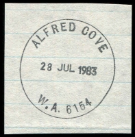 Lot 3357:Alfred Cove: - 'ALFRED COVE/28JUL1983/W.A. 6154' (G33R) on piece.  PO 1/5/1950; closed 1/8/1983.