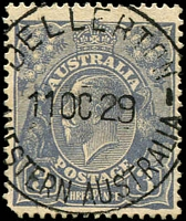 Lot 3004:Dellerton: - 'DELLERTON/11OC29/WESTERN AUSTRALIA' on 3d blue KGV.  RO 1/2/1924; PO 1/7/1927; TO 16/8/1930; closed 30/4/1949.