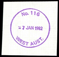 Lot 3461:116: violet 'No. 116/7JAN1982/WEST AUST.' on piece.