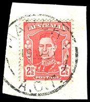 Lot 893:Manuka: - 'MANUKA/19AU46/A.C.T.' on 2½d red KGVI.  PO 1/5/1935.