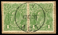 Lot 934:Y: '  Y  /10NO38/A.C.T.' (ERD) on 1d green KGV pair.