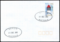 Lot 915:A.F.P.O. 2 strikes of double-oval 'A.F.P.O.15/31DEC2012/AUSTRALIA' on 70c Lighthouse on unaddressed cover.