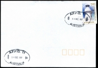 Lot 5600:A.F.P.O. 2 strikes of oval 'A.F.P.O. 11/31DEC2017/AUSTRALIA' on 70c Lighthouse on unaddressed cover.