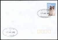 Lot 911:A.F.P.O. 2 strikes of oval 'A.F.P.O. 9/1/17AUG2015/AUSTRALIA' on 70c Cat on unaddressed cover.
