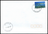 Lot 906:A.F.P.O. 2 strikes of 33mm 'AFPO 2/17AUG2015/AUSTRALIA' on 70c island on unaddressed cover.