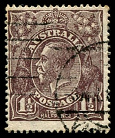 Lot 515:1½d Black-Brown Die I - BW #84(3)ea [3L8] White flaw in left border, opposite foot of kangaroo, and white flaw under H of HALFPENCE - state II - additional white flaw in left border, couple of toned perfsCat $75.