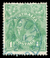 Lot 267:1½d Green Die I - BW #88(17)e [17L16] White flaw on A of POSTAGE, blue framed 'STEIGLITZ/18JL/24/VICTOR