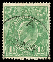 Lot 227:1½d Green Die I - [12L20] Notch in left frame at TLC, cancelled with relief '   A  /9JA24/N[.S.W]