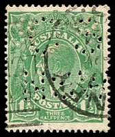 Lot 219:1½d Green Die I - [11R52] Break in right frame 3mm from top, perf 'OS/NSW', toning on reverse.
