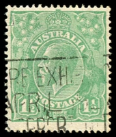 Lot 242:1½d Green Die I - [13L9] Flaw on underside of upper bar of F of HALF.