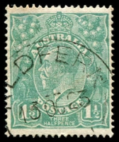 Lot 245:1½d Green Die I - BW #88(14)k [14R46] Fraction bar and 2 at right recut, toned perf tip, Cat $40.