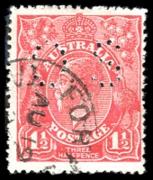 Lot 321:1½d Red Die I - BW #89(17)j [17L58] White flaw right of left value tablet - ACCC State I, perf 'OS', some fluffy perfs, Cat $25.