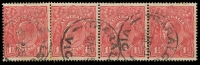 Lot 278:1½d Red Die I - BW #89(14)k strip of 4 [14R43-46] Fraction bar and 2 at right recut, some toning, Cat $40.