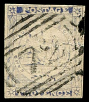 Lot 5661:1851 Sydney Views Plate IV Stout Yellowish Vertically Laid Paper SG #35 2d Prussian blue 4-margins, nice BN '72' R cancel, Cat £275