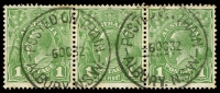 Lot 1223:Albury (2): - 2 strikes of 'POSTED ON TRAIN/6OC32/ALBURY N.S.W.' (ERD) on 1d green KGV strip of 3.  PO 1/2/1847.