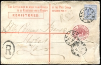 Lot 1243:Carinda (2): - 3 strikes of framed 'CARINDA/OC13/1904/N.S.W' on 2d blue on 3d NSW Registered cover, addressed to Tatt's (spike holes, roughly opened).  PO 20/4/1885.