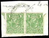 Lot 1354:Fisher's Hill: - 'FISHER'S HILL/?????8/N.S.W.' on 1d green KGV pair.  PO 15/12/1909; TO 14/9/1959; closed 30/6/1964.