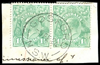 Lot 1364:Gosford: - 'GOSFORD/5FE24/N.S.W.' (ERD by 5 years) on 1½d green KGV pair.  Renamed from Brisbane Water PO 1/9/1841.