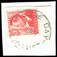 Lot 1378:Herne Bay: - 'HERNE BAY/8?R51N.S.W-AUST' on 3d red KGVI.  Renamed from Riverwood PO 1/4/1946; renamed Riverwood PO 1/2/1958.