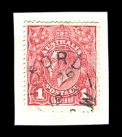 Lot 1387:Ilford: - framed 'ILFORD/AU26/1918/[N].S.W' (LRD) on 1d red KGV.  Renamed from Keen's Swamp PO 1/3/1868; closed 29/10/1993.