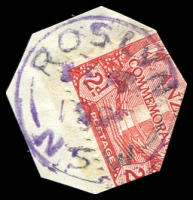Lot 1423:Roslyn (3): - violet 'ROSLYN/SP??/1935/N.S.W' on 2d ANZAC (cut-to-shape through stamp).  Replaced Roslyn Railway PO 1/8/1913; closed 31/10/1977.