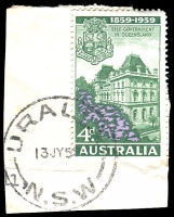 Lot 1460:Uralla: - 'URALLA/13JY59/N.S.W' (Type A) on 4d Resp Govt.  PO 1/2/1858.