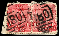 Lot 1117:1180: 2 strikes of '1180' BN on 1d Arms x2. [Rated 3R]  Allocated to Rocky Hall-PO 1/5/1883; TO 1/4/1975.