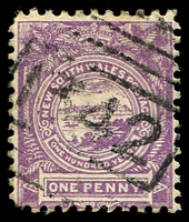 Lot 6295:1342: '1342' BN on 1d Centennial. Stamp issued after closure of PO. [Rated 4R - the first offered by us.]  Allocated to Six-Mile Creek-PO 1/5/1886; closed 7/5/1887.