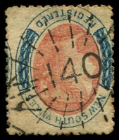 Lot 1007:140: rays (3R16) on 6d orange & blue Registered P13½ (toned).  Allocated to Moorna-PO 22/2/1855; renamed Wentworth PO 19/6/1860.